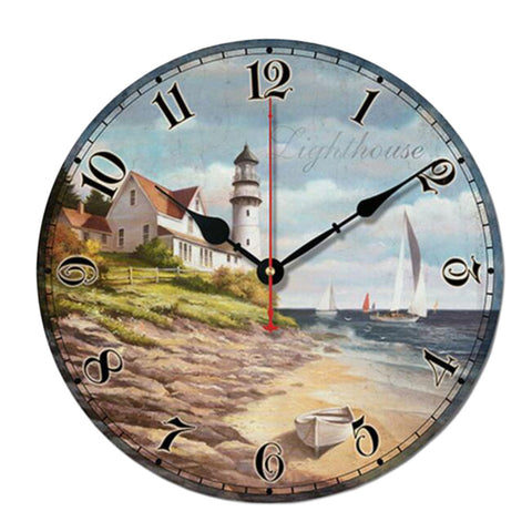 "10"" Retro Unique Lighthouse Wall Clock Decor Silence Hanging Clock, G"