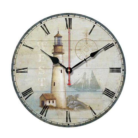 "10"" Retro Unique Lighthouse Wall Clock Decor Silence Hanging Clock, H"