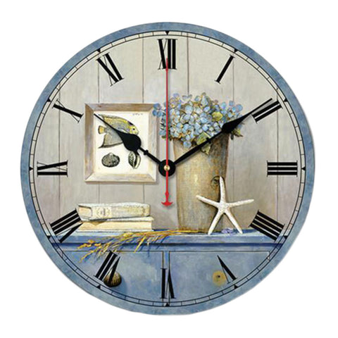 "10"" Retro Rural Style Wall Clock Silence Decent Decor Hanging Clock, A"