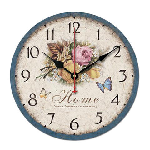 "10"" Retro Rural Style Wall Clock Silence Decent Decor Hanging Clock, B"
