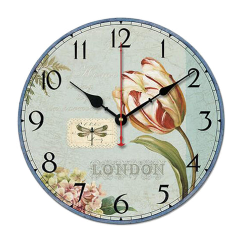 "10"" Retro Rural Style Wall Clock Silence Decent Decor Hanging Clock, C"