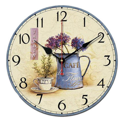 "10"" Retro Rural Style Wall Clock Silence Decent Decor Hanging Clock, E"