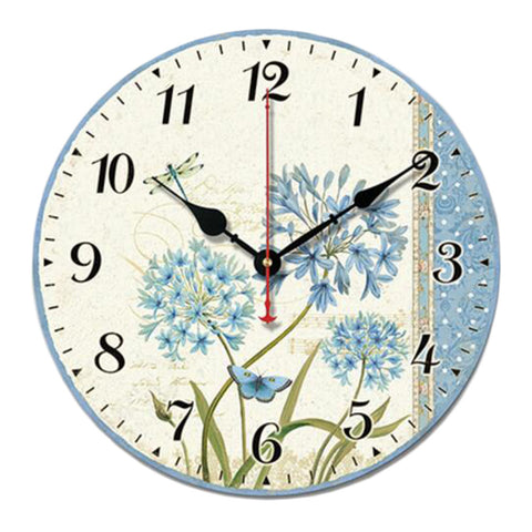 "10"" Retro Rural Style Wall Clock Silence Decent Decor Hanging Clock, F"
