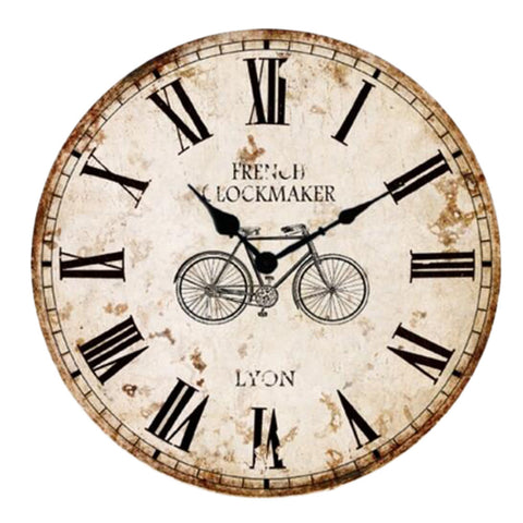 "12"" European Retro Wall Clock Classical Decor Silence Hanging Clock, B"