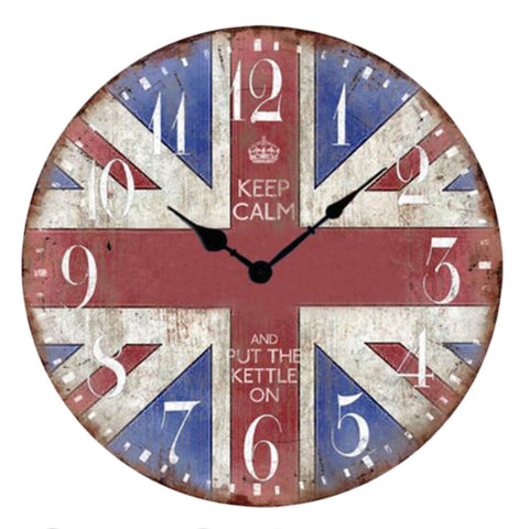 "12"" European Retro Wall Clock Classical Decor Silence Hanging Clock, C"