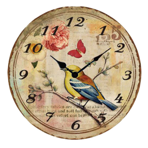 "12"" European Retro Wall Clock Bird Decor Silence Hanging Clock, A"