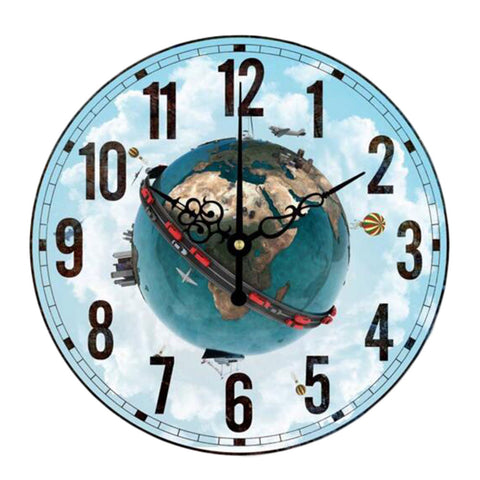 "12"" Earth Retro Wall Clock Decor Silence Hanging Clock, Flower Hand"
