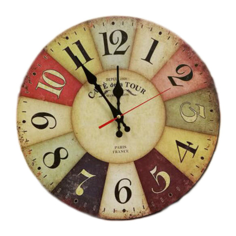 "14"" Retro Unique Wooden Wall Clock Decor Silence Hanging Clock, #01"