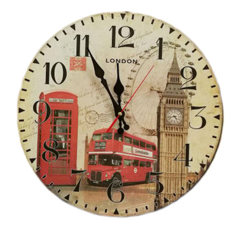 "14"" Retro Unique Wooden Wall Clock Decor Silence Hanging Clock, #03"