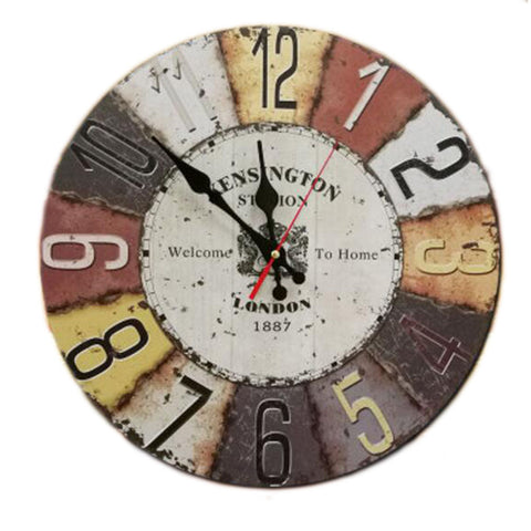 "14"" Retro Unique Wooden Wall Clock Decor Silence Hanging Clock, #04"