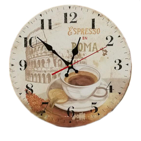 "14"" Retro Unique Wooden Wall Clock Decor Silence Hanging Clock, #06"