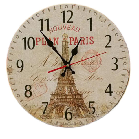 "14"" Retro Unique Wooden Wall Clock Decor Silence Hanging Clock, #07"