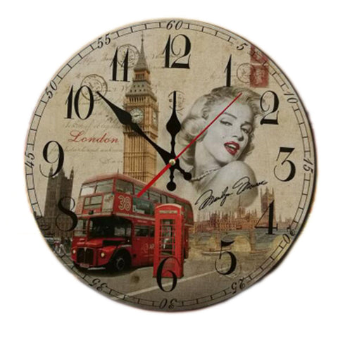 "14"" Retro Unique Wooden Wall Clock Decor Silence Hanging Clock, #08"