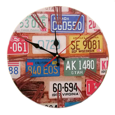 "14"" Retro Unique Wooden Wall Clock Decor Silence Hanging Clock, #09"