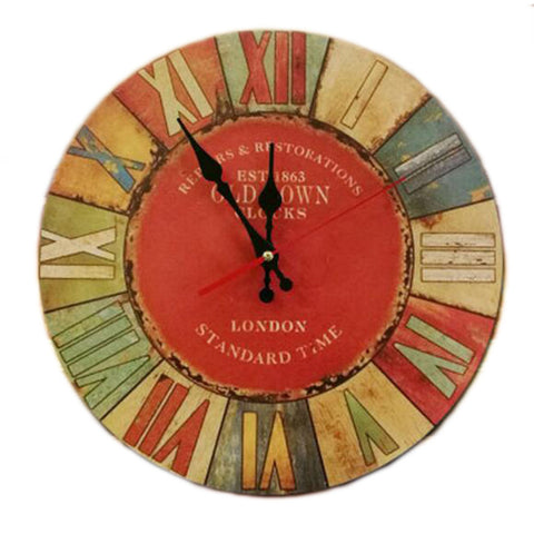 "14"" Retro Unique Wooden Wall Clock Decor Silence Hanging Clock, #12"