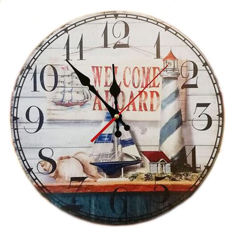 "14"" Retro Unique Wooden Wall Clock Decor Silence Hanging Clock, #13"
