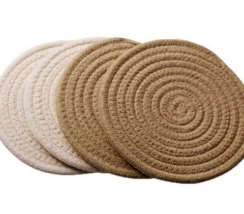 Insulation Mat Meal Mat Bowl Mat Anti-hot Pad Tableware Mat Braided 4 pieces(D)