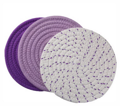 Insulation Mat Meal Mat Bowl Mat Anti-hot Pad Tableware Mat Braided 3 pieces(B)
