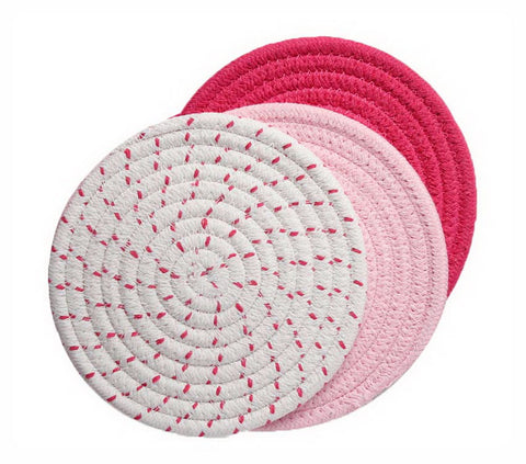 Insulation Mat Meal Mat Bowl Mat Anti-hot Pad Tableware Mat Braided 3 pieces(D)