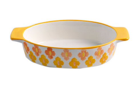 Round Ceramic Bakeware Kitchen Cookware Cupcake Pans Lemon Yellow Flowers