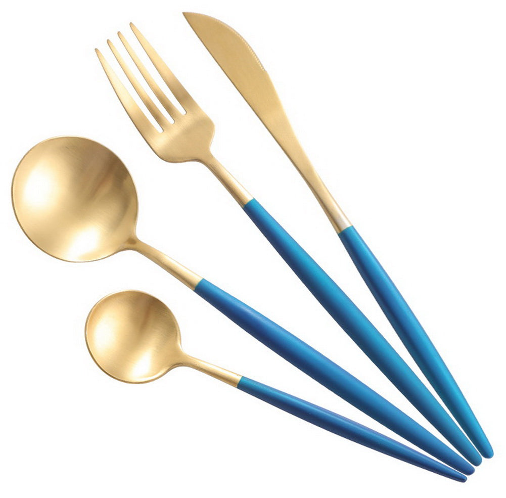 Creative Stainless Steel Four-piece Tableware, Blue And Golden