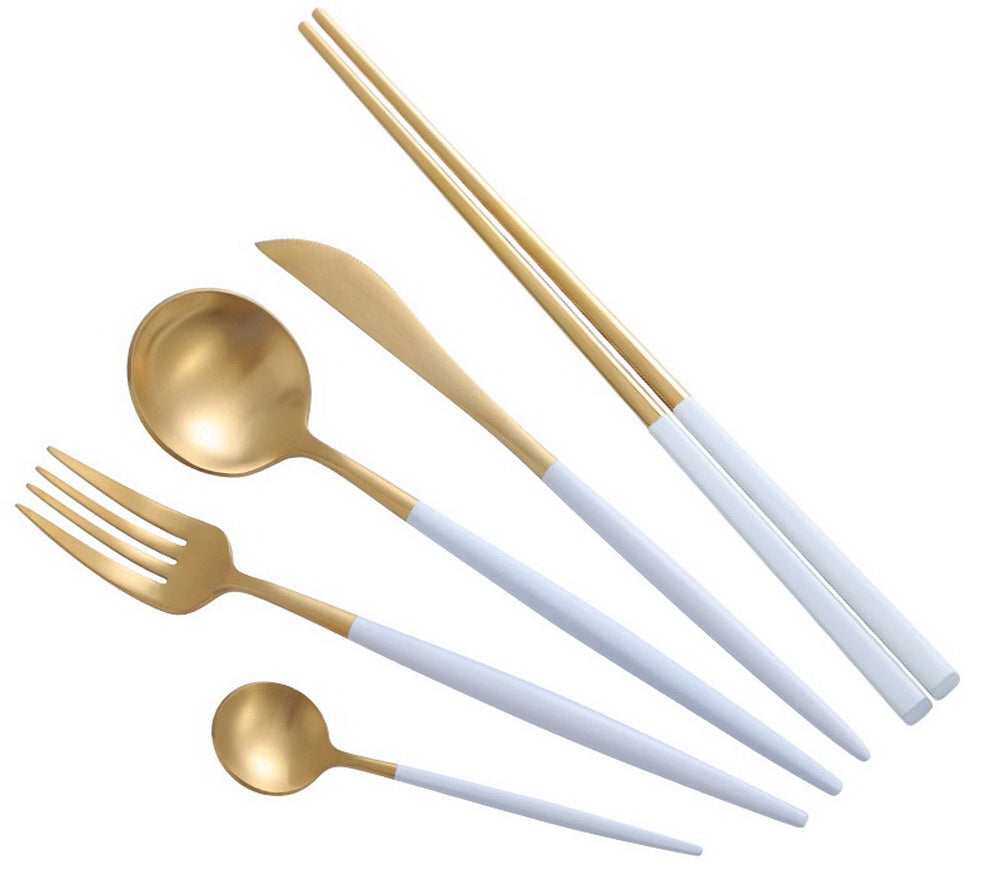 Creative Stainless Steel Five-piece Tableware, White And Golden