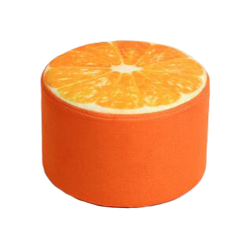 Household Creative Round Stool Sofa Footrest Stools with Detachable Cover, Orange