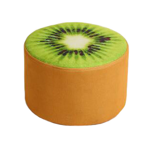 Household Creative Round Stool Sofa Footrest Stools with Detachable Cover, kiwifruit