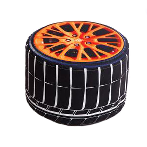 Household Creative Round Stool Sofa Footrest Stools with Detachable Cover, Tyre