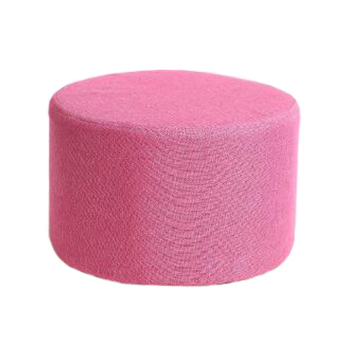 Household Creative Round Stool Sofa Footrest Stools with Detachable Cover, Rose red