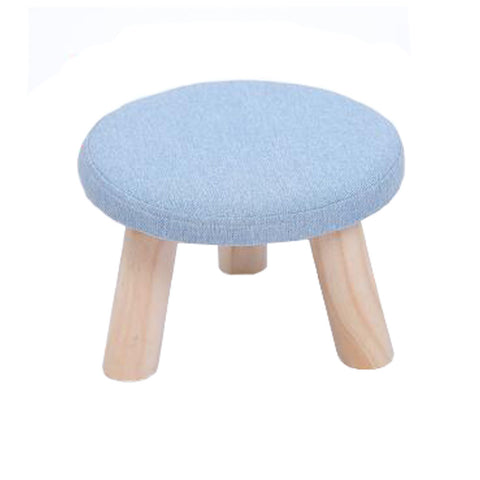 Round Stool Footstool Bench Seat Foot Rest Ottoman Detachable Cover, 3 Legs, Light Blue