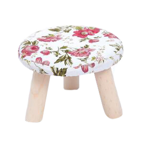 Round Stool Footstool Bench Seat Foot Rest Ottoman Detachable Cover, 3 Legs, Peony