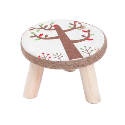 Creative Round Stool Footstool Ottoman Bench Seat Foot Rest Detachable Cover, 3 Legs