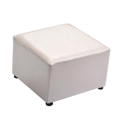 Fashionable Square Faux Leather Modern Small Stool Table Stool Sofa Pier Ottoman Stool, Beige