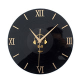 "12"" Retro 3D CD Style Nostalgia Wall Clock Black"
