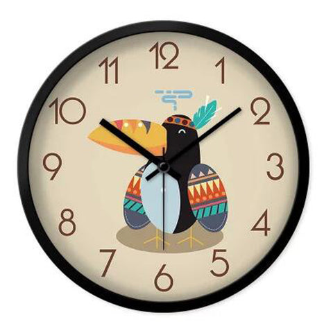 Lovely Cartoon Circular Personality Clock Living Room Decorative Silent Round Wall Clocks, NO.4
