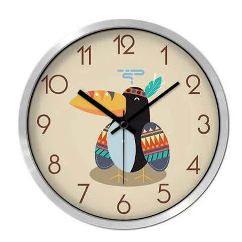 Lovely Cartoon Circular Personality Clock Living Room Decorative Silent Round Wall Clocks, NO.6