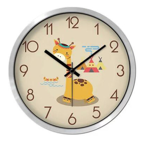Lovely Cartoon Circular Personality Clock Living Room Decorative Silent Round Wall Clocks, NO.12