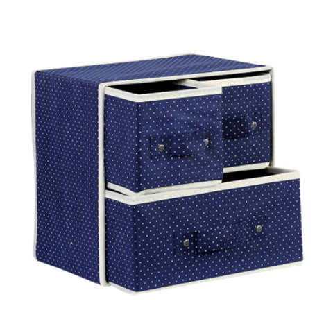 Foldable Drawer-Style Storage Box Organizer Bin Storage Container Navy Dot