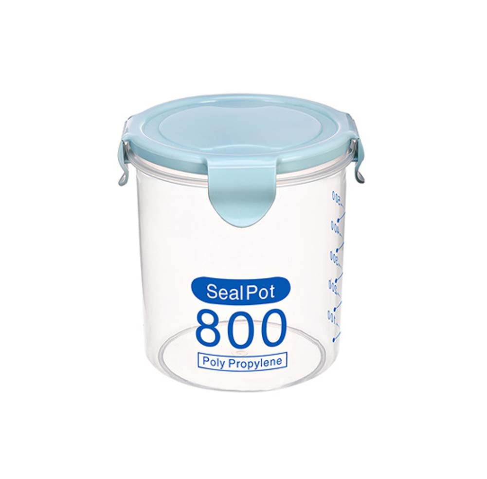 Set of 2 Food Storage Containers Seal Pots Plastic Storage Jars, 800ml, BLUE