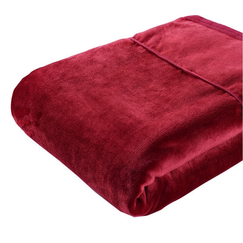 [Flannel Blanket] Red Lightweight Cozy Plush Microfiber Solid Blanket