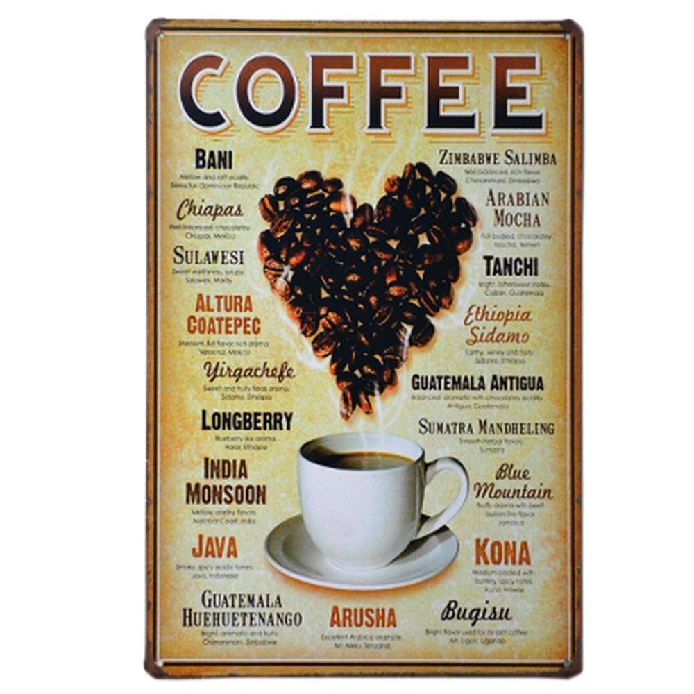 LOVE COFFEE BEAN VINTAGE METAL PAINTING WALL HANGING