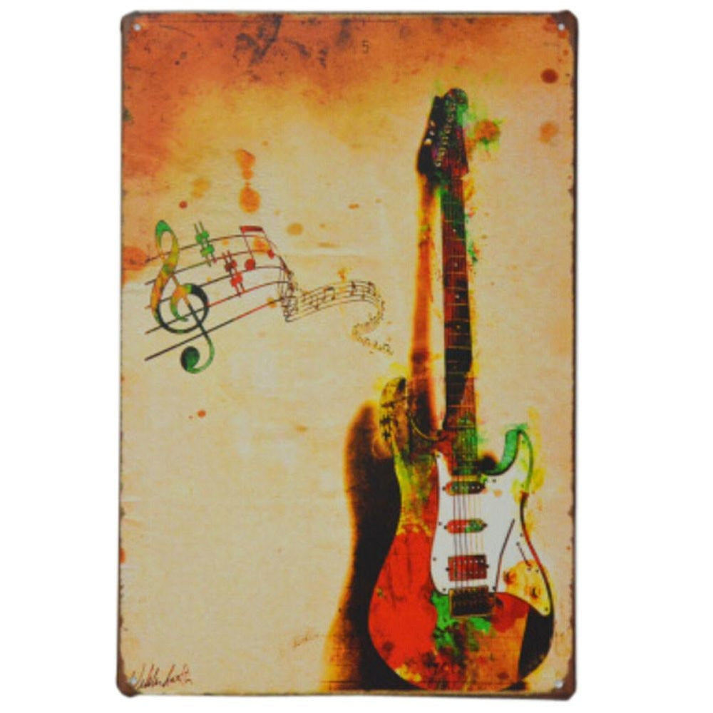 GUITAR VINTAGE METAL PAINTING WALL HANGING