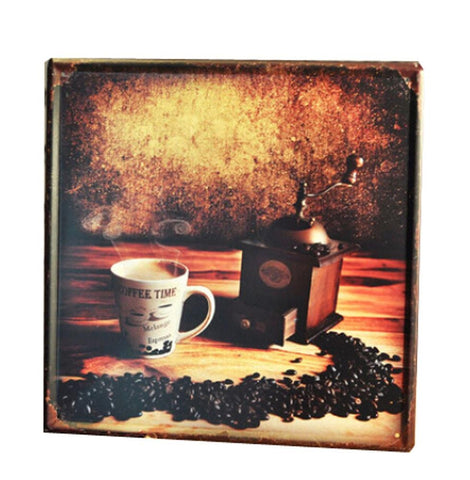 COFFEE BEANS VINTAGE METAL PAINTING WALL HANGING