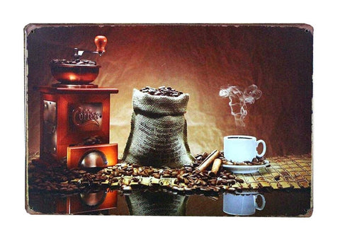 COFFEE BEAN GRINDER VINTAGE METAL PAINTING WALL HANGING