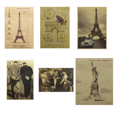 Six Posters Cool Cheap Europe Posters Wall Posters Reminiscence Retro, Random Style