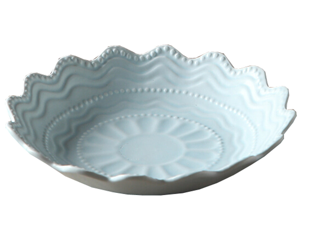 Ceramics Serving Dishes Trays Platters Candy Dishes Decorative Tray Breakfast plate 8.5 Inch (Blue)