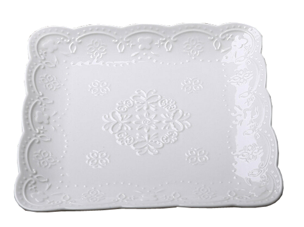 Ceramics Serving Dishes Trays Platters Candy Dishes Decorative Tray Steak Plate 10.15 Inch (White)