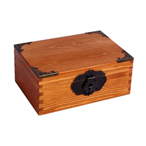 Wooden Retro Cosmetics Storage Box Jewelry Storage Box  With Lock #6