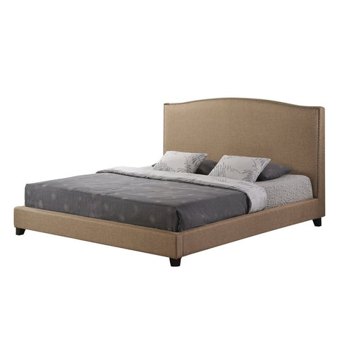 Baxton Studio Aisling Dark Beige Fabric Platform Bed-Queen Size